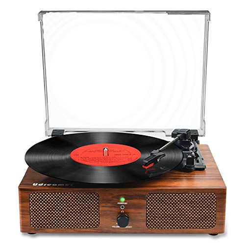 Vinyl Record Player Bluetooth Turntable with Built-in Speakers and USB Belt-Driven Vintage Phonograph Record Player 3 Speed for Entertainment and Home Decoration