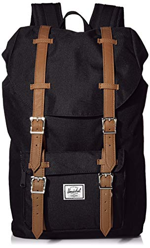 Herschel Little America Laptop Backpack, Black/Tan Synthetic Leather, Classic 25.0L