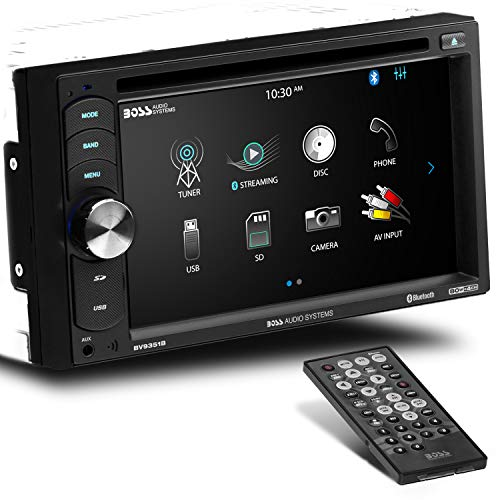 BOSS Audio Systems BV9351B Car DVD Player - Double Din, Bluetooth Audio and Calling, 6.2 Inch LCD Touchscreen Monitor, MP3 Player, CD, DVD, MP3, USB, SD, Auxiliary Input, AM FM Radio Receiver, Black