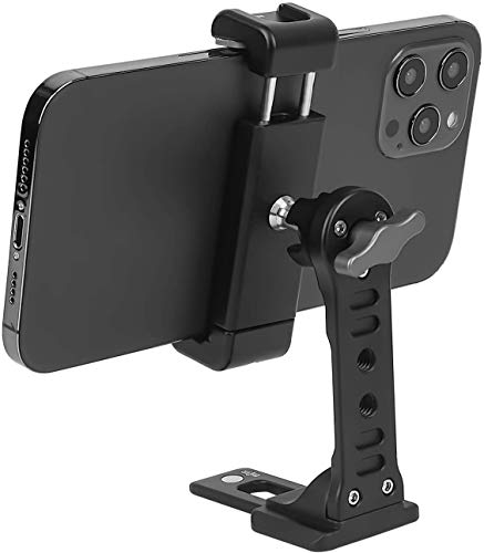 Metal Phone Tripod Mount with Cold Shoe,Woohoto 360 Phone Tripod Holder Adapter,Desktop Cell Phone Stand, Compatible with iPhone 12 Tripod Mount Sumsung Smartphone, Video Live Streaming Rig