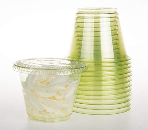 GOLDEN APPLE, 9oz-30sets Green Plastic Cups with Clear Flat no Hole lids