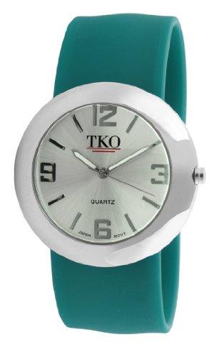 TKO ORLOGI Women's TK614-STL Silver Slap Metal Teal Watch