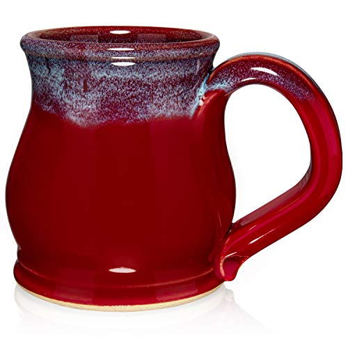 Uncommon Clay 12oz Potbelly Coffee Mug Handmade in the USA (Red/Blue)