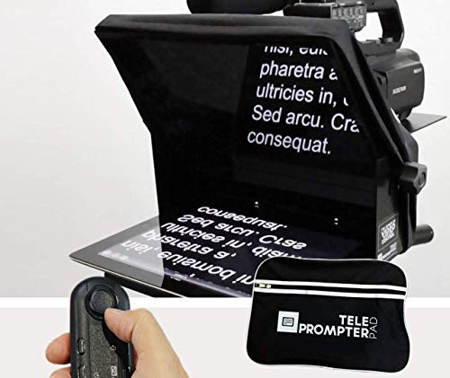 TELEPROMPTER PAD TeleprompterPAD iLight Pro 10'' - 100x100 Aluminum - Robust (No Flimsy Plastic). Compatible with iPad/Android. Portable. Multi Camera. HD Beamsplitter Glass. Made in EU