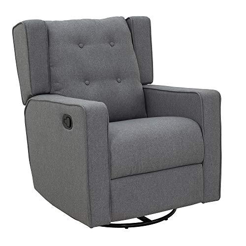 HOMCOM Polyester Linen Fabric Swivel Gliding Recliner Chair, Grey