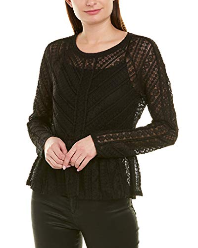 BCBGMAXAZRIA Women's Long Sleeve Lace Peplum Top, Black, S