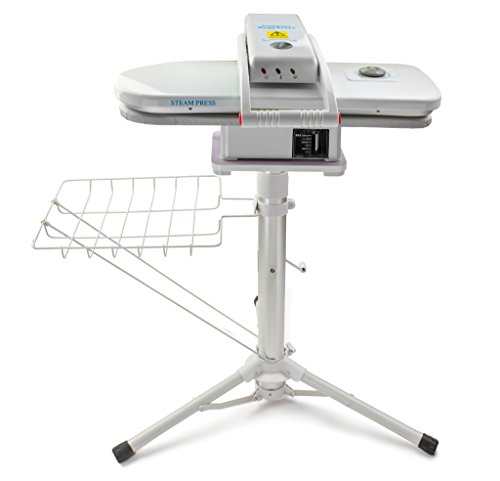 Two in One Compact Ironing Steam Press and Steam Press Stand Set - 1,350 Watt Steam Press - Adjustable Telescopic Press Stand - Perfect for Delicate Garments
