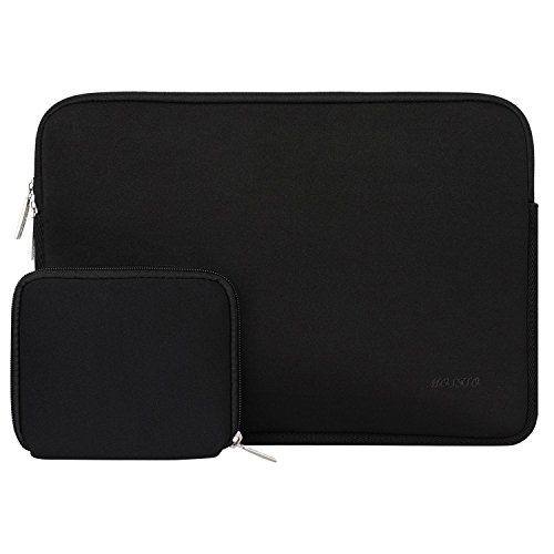 MOSISO Laptop Sleeve Compatible with 13-13.3 inch MacBook Pro, MacBook Air, Notebook Computer, Water Repellent Neoprene Bag with Small Case, Black