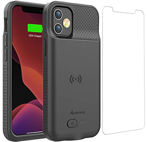 Battery Case for iPhone 12 Pro & iPhone 12, 5000mAh Slim Portable Protective Extended Charger Cover with Wireless Charging Compatible with iPhone 12 and iPhone 12 pro (6.1 inch) - BX12 (Matte Black)