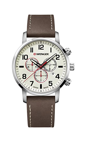 Wenger Men's Sport Stainless Steel Swiss-Quartz Watch with Leather Strap, Brown, 22 (Model: 01.1543.105)