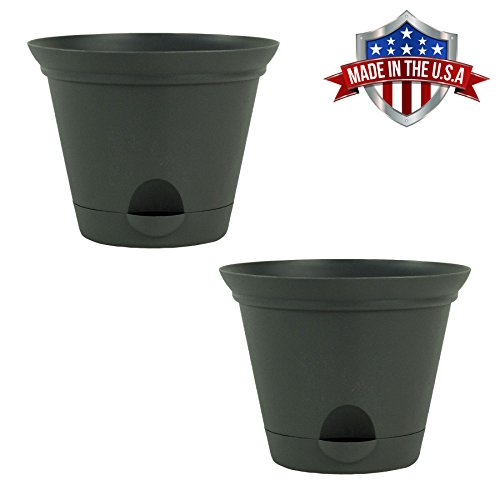 11.5-in. Flat Gray Plastic Self Watering Flare Flower Pot or Garden Planter 2 Pack