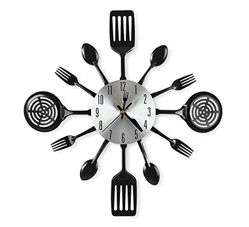 CIGERA 16 Inch Large Kitchen Wall Clocks with Spoons and Forks,Great Home Decor and Nice Gifts,Black