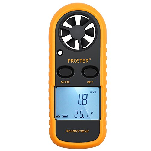 Proster Handheld Wind Speed Meter Anemometer Portable Wind Gauges Air Flow Thermometer with LCD Backlight for Windsurfing Kiteflying Sailing Fishing