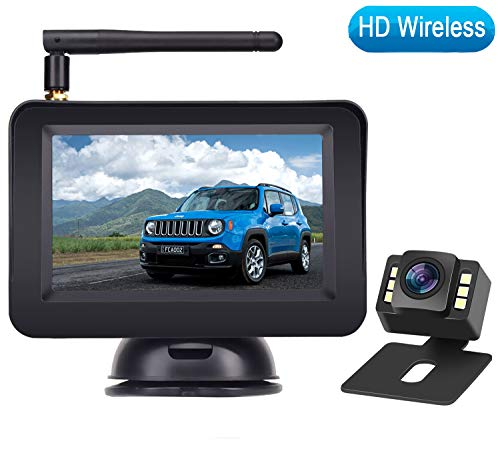 Rohent HD Color Wireless Backup Camera and 4.3' Monitor System For Cars/SUVs/MiniVans the latest LED Night Vision IP69 Waterproof Rear/Front View Camera Guide Lines On/Off Reversing Use