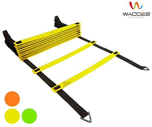 Wacces Adjustable Agility Ladder for Soccer, Speed, Football, Fitness with Carry Bag (8 Rungs - Yellow)