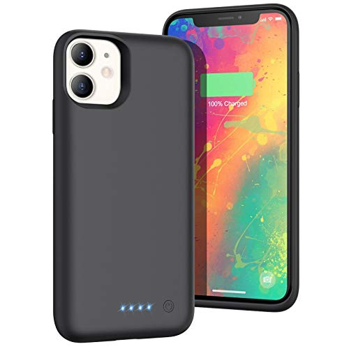 Gixvdcu Battery Case for iPhone 11,6800mAh Portable Charger Case for iPhone 11,Rechargeable Extended Battery Pack Charging Case Compatible with iPhone 11-Black(6.1 inch)