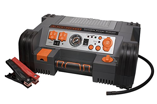 BLACK+DECKER PPRH5B Portable Power Station Jump Starter: 1000Peak/450 Instant Amps, 500W Inverter, 120 PSI Air Compressor, Battery Clamps