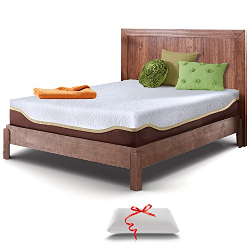 Live and Sleep Elite - Queen Size Memory Foam Mattress in a Box - Cooling Bed in a Box - Firm Support, Bonus Foam Pillow, CertiPUR Certified - Queen Size Bed