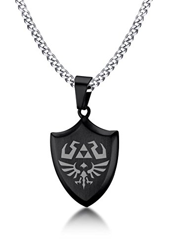 VNOX Legend of Zelda Breath of The Wild Stainless Steel Shield Pendant Necklace for Men Boy,Black,24'