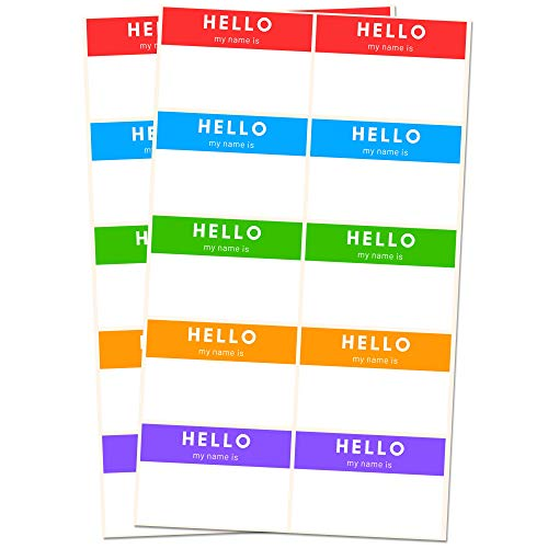250 Pack, Hello My Name is, Labels Stickers Sheets, 5 Colors - 3' x 2'