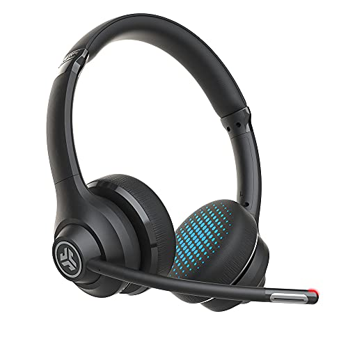 JLab Go Work Wireless On-Ear Headphones with Boom Mic   Bluetooth or Wired Office Headset   Multipoint Connect   45+ Hours Playtime   Clear Calls and Video Calls Using Your Computer or Mobile Device