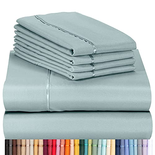 LuxClub 6 PC Sheet Set Bamboo Sheets Deep Pockets 18' Eco Friendly Wrinkle Free Sheets Machine Washable Hotel Bedding Silky Soft - Light Teal Queen