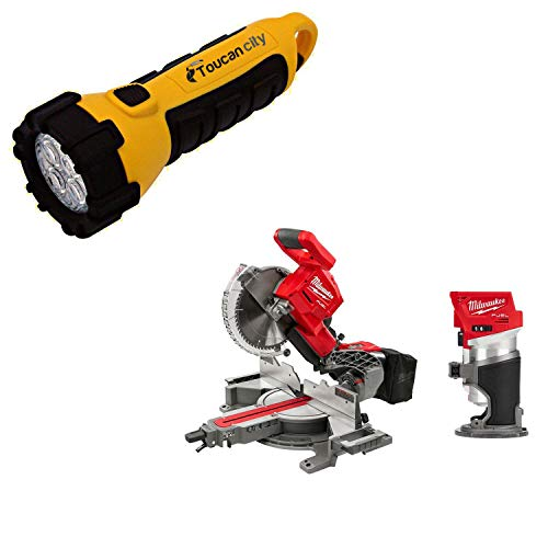 Toucan City LED Flashlight and Milwaukee M18 FUEL 18-Volt Lithium-Ion Brushless 10 in. Cordless Dual Bevel Sliding Compound Miter Saw with Compact Router 2734-20-2723-20