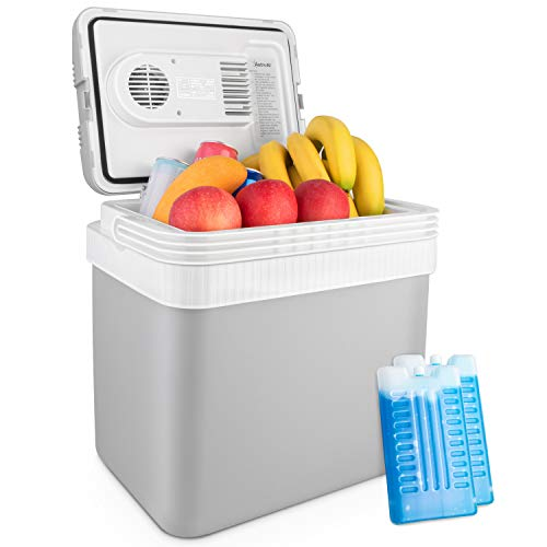 AstroAI Car Cooler 26 Quarts/ 24 Liter Electric Portable Thermoelectric for Beverage, Beer, Wine, Seafood, Fruits, Home and Travel with 2 Ice Packs (Gray)