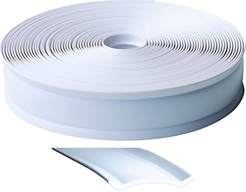 RV Designer E461, Heavy Duty Vinyl Insert Trim, 1 inch Wide, 100 foot Roll, White