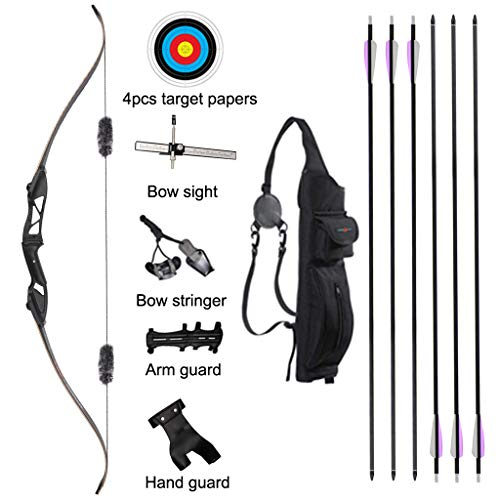 TOPARCHERY Archery 56' Takedown Hunting Recurve Bow and Arrow Set Metal Riser Right Hand Black Longbow Kit with 6Pcs Carbon Arrows Right Hand (30)