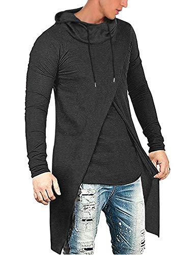 COOFANDY Men's Slim Fit Hoodie Lightweight Hooded Sweatshirt Casual Hip Hop Long Length Cloak Cotton Blend Pullover Dark Gray