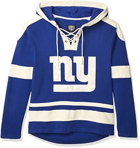 OTS NFL New York Giants Men's Grant Lace Up Pullover Hoodie, Logo, Large