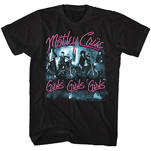 Motley Crue 1981 American Heavy Metal Rock Band Girls Girls Girls Adult T-Shirt Black