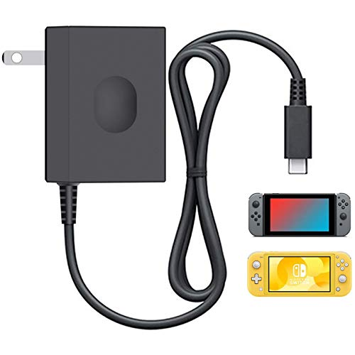 Switch Charger for Nintendo Switch Lite, YCCSKY Nintendo Switch Lite Charger AC Adapter Charger Replacement Accessories with 5FT Type C Cable 15V/2.6A (Support TV Mode and Pro Controller), Black