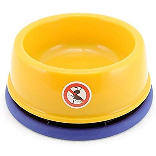 Dyl No-Ant Pet Bowl,for Puppy Smaller Dog or Cat,Plastic with Uniqe Moat and Non-Slip,1 Cup(8Oz),Yellow