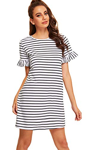 Floerns Women's Summer Casual Ruffle Short Sleeve Tunic Striped T-Shirt Dress A-White-2 M