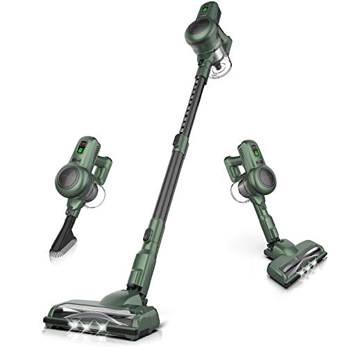 ORFELD Cordless Vacuum 4 in 1 Extendable Stick Vacuum Cleaner Handheld Self-Standing Powerful Suction for Hardwood Floor Carpet Pet Hair Car, Ultra-Lightweight Green/Black