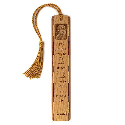 Socrates Quote How to Live with Honor Engraved Wooden Bookmark with Tassel - Search B07QYQ1T4H to See Personalized Version