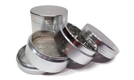 Toker Premium Titanium Herb Grinder, Silver Graphite (5 Piece)
