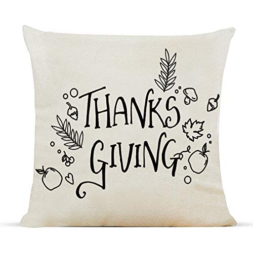 Diateklity Fall Thanks Giving Throw Pillow Covers 18x18 Inches Farmhouse Decoration for Couch Sofa Cotton Linen Pillowcases