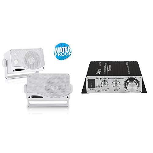3-Way Weatherproof Outdoor Speaker Set - 3.5 Inch 200W Pair of Marine Grade Mount Speakers & Lepy LP-2020A Class-D Hi-Fi Digital Amplifier with Power Supply Black