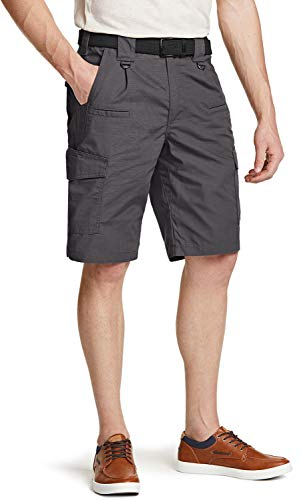CQR Men's On-The-Go Cargo Shorts, Lightweight Relaxed Fit Casual Shorts, Outdoor Stretch Multi-Pocket Cargo Shorts, Ripstop Cargo Shorts Charcoal, 36