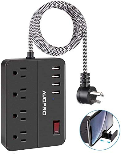 Power Strip USB, AUOPRO Flat Plug Surge Protector 4 Outlets & 4 USB Ports, Retractable Phone Holder, 5ft Braided Extension Cord, Compact Charging Sation for Home Office Hotel Travel, 1250W/10A/600J