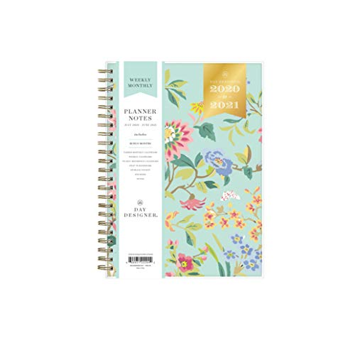 Day Designer for Blue Sky 2020-2021 Academic Year Weekly & Monthly Planner Notes, Flexible Cover, 5.8' x 8.6', Climbing Floral Mint