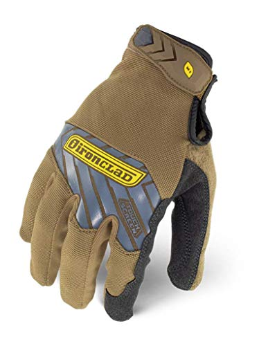IRONCLAD Command Pro Work Gloves; Touch Screen Gloves Conductive Palm and Fingers, All-Purpose, Performance Fit, Machine Washable, Sized S, M, L, XL, XXL (1 Pair) (Large, Brown)
