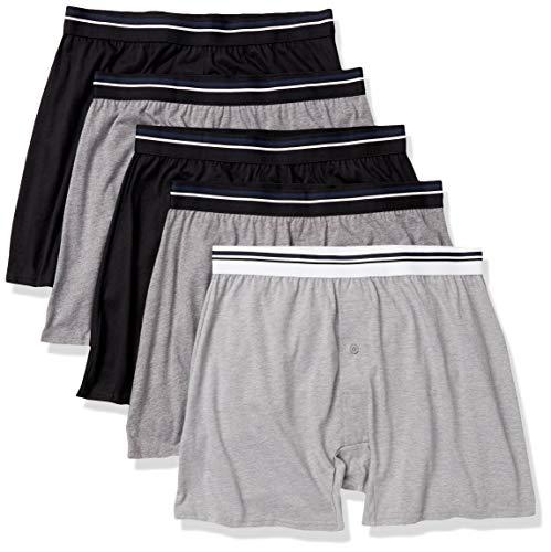 Amazon Essentials Men's 5-Pack Knit Boxer Short, Black/Charcoal/Grey Heather, Large