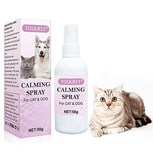 TOULIFLY Calming Spray for Cats,Calming Spray for Dogs,Reduce Anxiety for Vet Visits,Travel, Loud Noises,Stress Reliever with Chamomile, Aloe Vera and Lavender