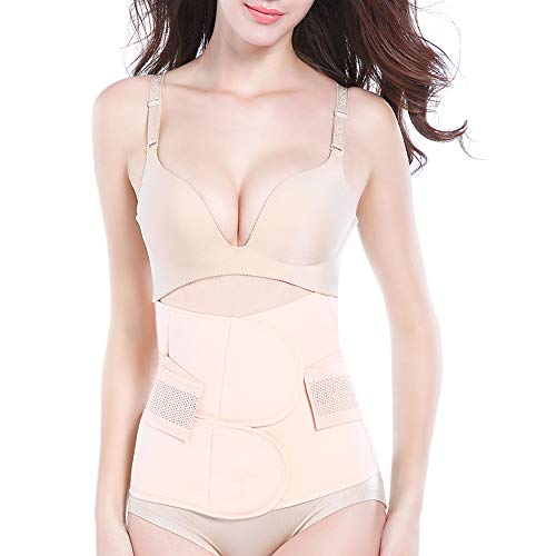 Trendyline Women Postpartum Girdle Corset Recovery Belly Band Wrap Belt, Medium,Beige Nude Medium