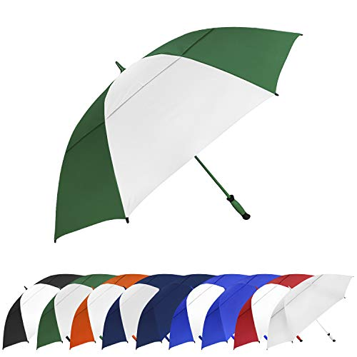 STROMBERGBRAND UMBRELLAS Women's Automatic Lightweight Compact Open Portable Golf Umbrellas for Men, Hunter Green/White, One Size