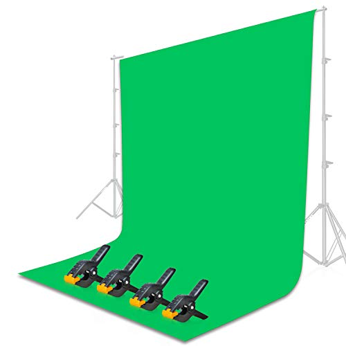 Emart 9 x 15 ft Photography Green Screen Backdrop, Portable Chromakey Greenscreen Muslin Pure Cotton Photo Background with 4 Backdrop Clips for Gaming, Studio Video, Photoshoot, Streaming, Zoom